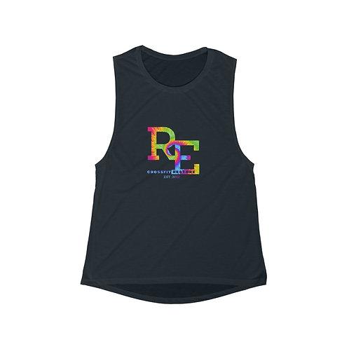 RE tie dye - Women's Flowy Scoop Muscle Tank