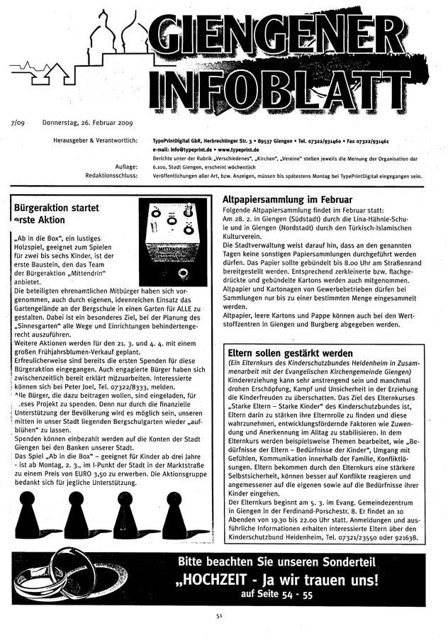 Giengener Infoblatt 1