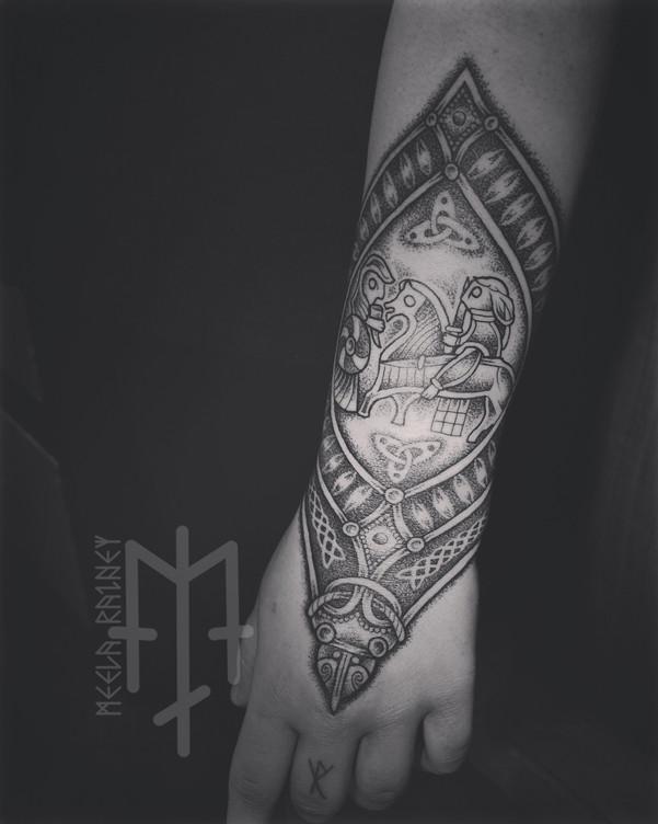 valkyrie female warrior viking tattoo ornament