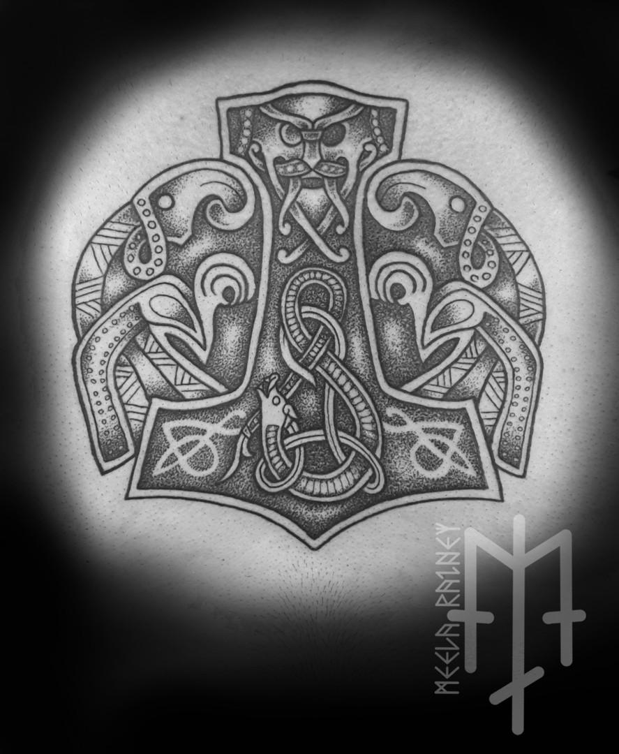 thors hammer mjolnir ravens tattoo