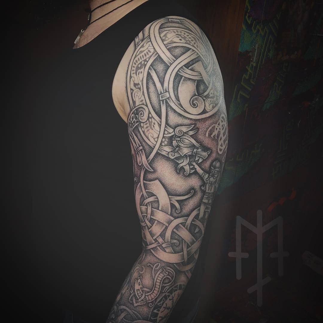 fenrir tyr knotwork ornamental tattoo