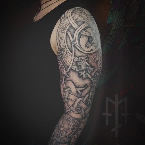 fenrir tyr knotwork ornamental tattoo