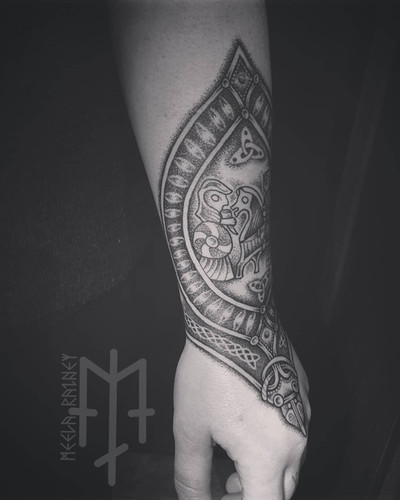 valkyrie female warrior viking tattoo ornament
