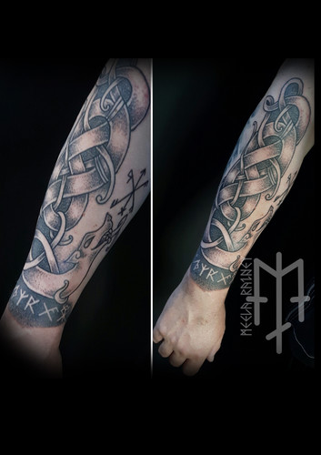norse dragons viking runes tattoo