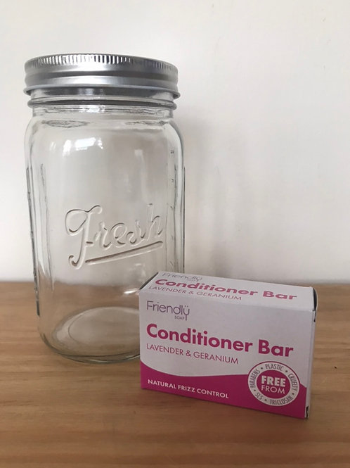 Friendly Soap Conditioner bar and Glass Jar