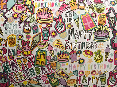 Delicious Birthday wrapping paper and tag