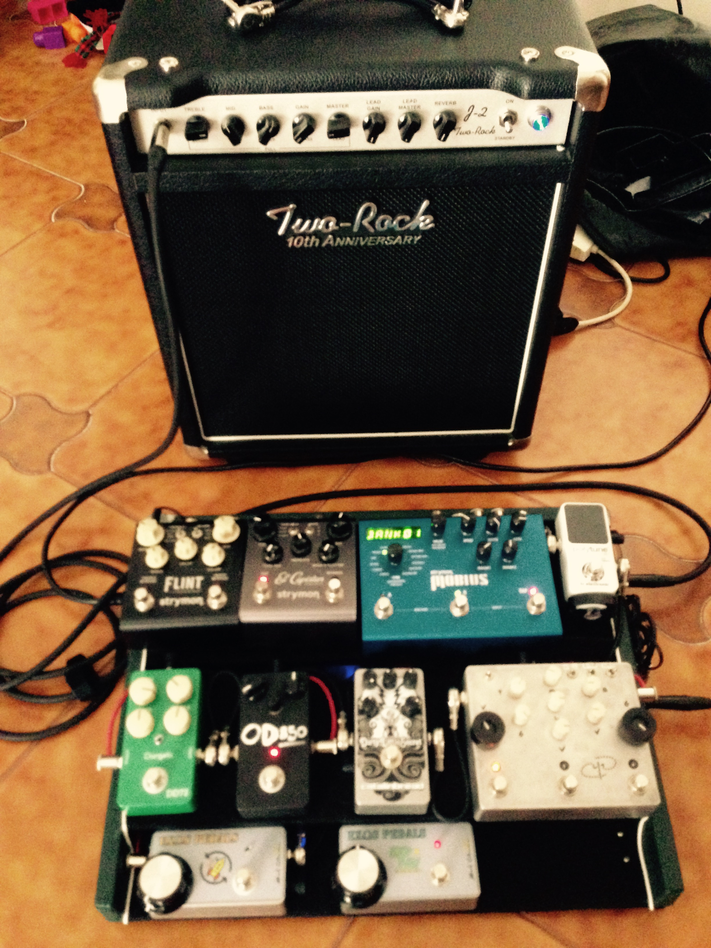 my pedalboard and my Two Rock amp
