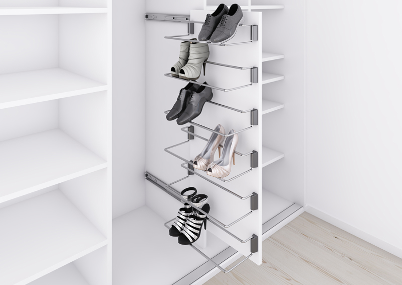 sliding shoe rack, shoe storage idea