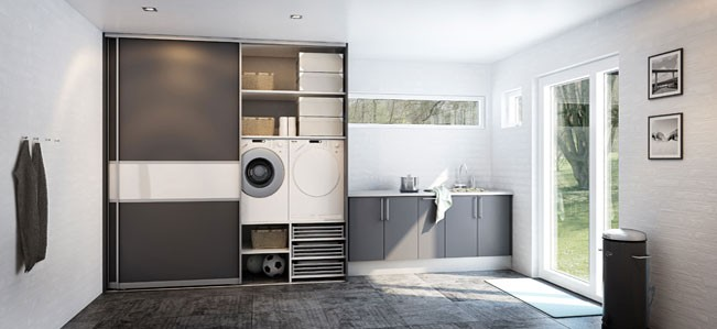 Utility room sliding storage , utili