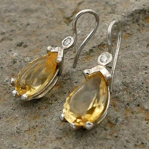 Ohrhänger Weißgold Citrin Brillant