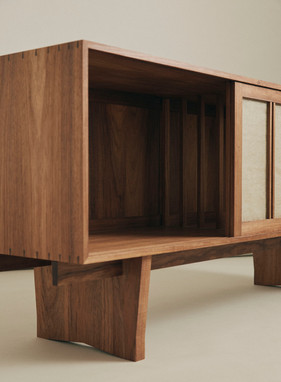 Sideboard | Tasmanian Blackwood w/ Linen Sliding linen screens 2020 - Image @danielmulheran