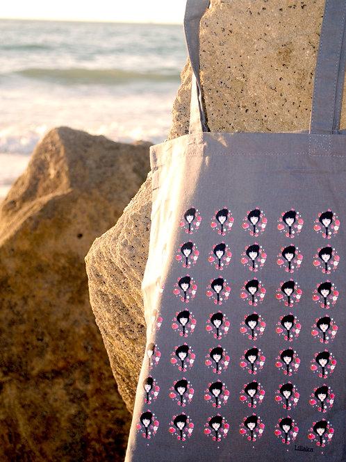 """Le tote bag """"pretty little faces"""" gris"""