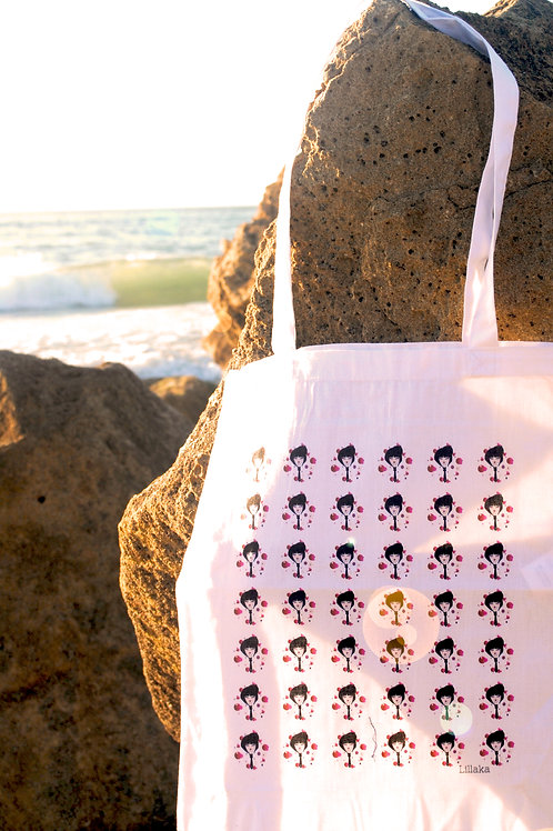 "Le tote bag ""pretty little faces"" blanc"