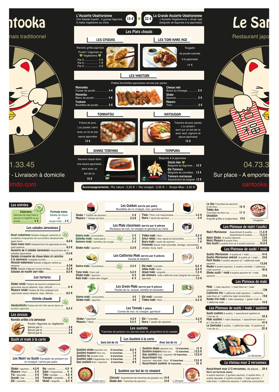 Carte Menu de restaurant