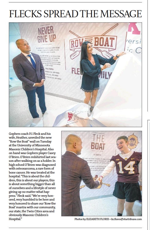 "Star Tribune Article ""Flecks Spread the Message"""