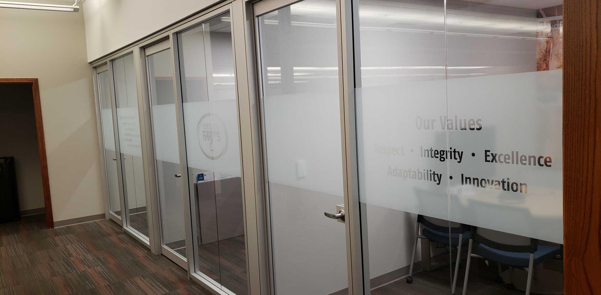 Christensen Farms: Meeting Room Window Frost