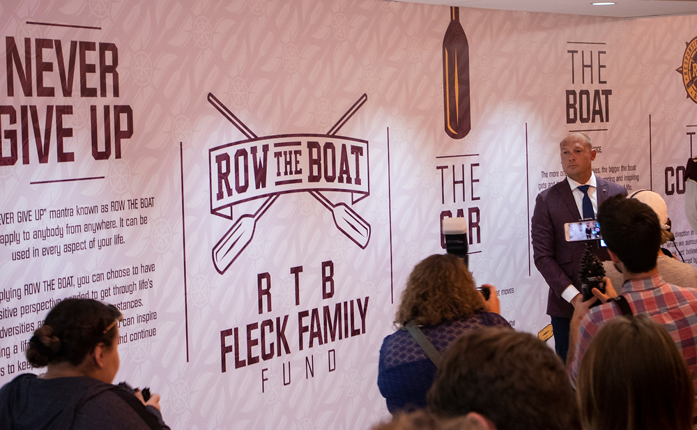 "P.J. Fleck Introducing ""Row the Boat"" Wall"