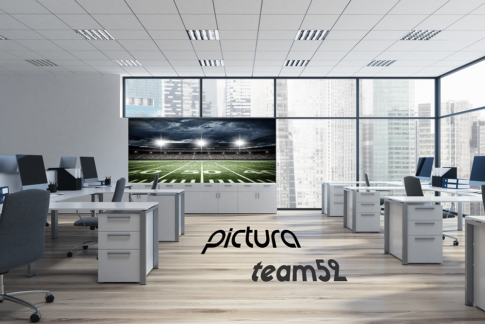Office with floor/wall graphics