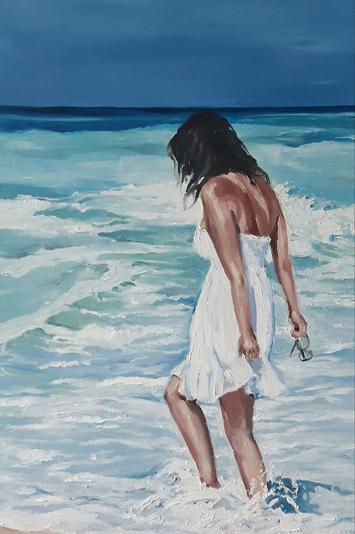 woman on the beach, blue and white