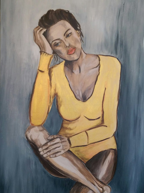 Woman in a yellow suit