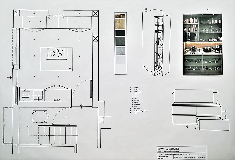 Downstairs Kitchen plan and detail drawing with specifications