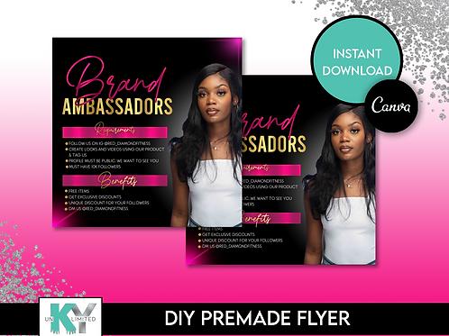 DIY Pink Brand Ambassador Premade Flyer