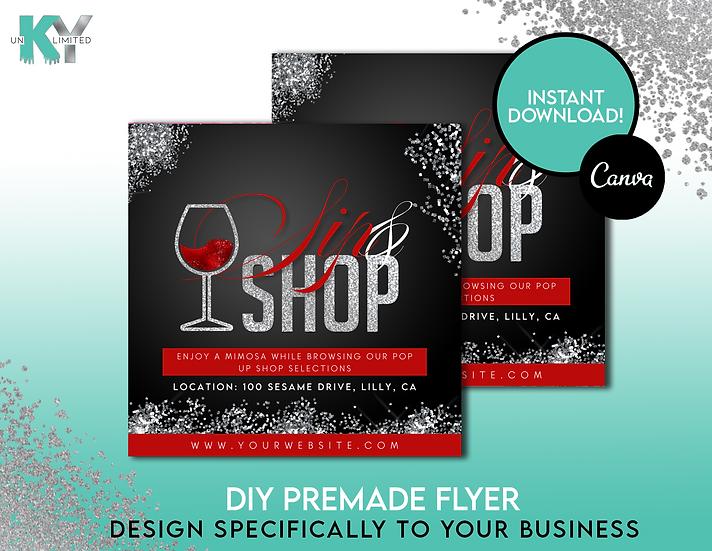 DIY Sip and Shop Premade Flyer