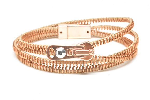 Double/Four Copper and Salmon Zipper Bracelet and Necklace in One
