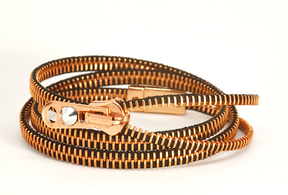 Triple/Six Copper and Black Zipper Bracelet and Necklace in One