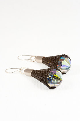 Mesh drop earrings with Swarovski crystals