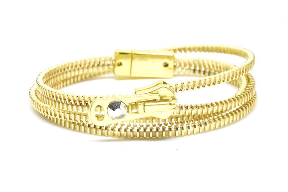 Double/Four Brass and Butter Zipper Bracelet and Necklace in One