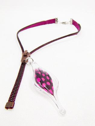 Fuscia/brown zipper necklace w feather charm (Z28)