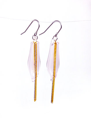 Miniature Distilled Earrings (pink & gold)