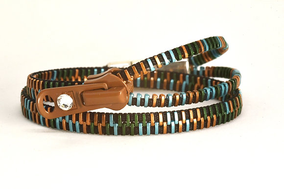 Double/Four Multi-Colour and Black Zipper Bracelet and Necklace in One