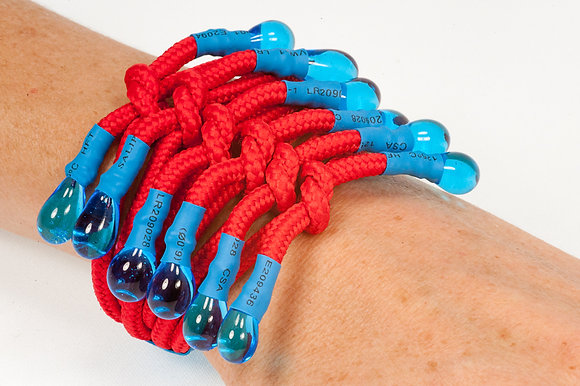 Red and blue shoelace bracelet