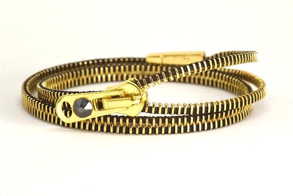 Brass and black zipper bracelet (double/fours)