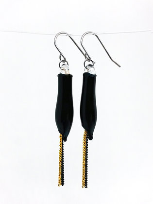 Miniature Distilled Earrings (blk & gold)