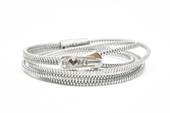 Triple/Six Steel and Grey Zipper Bracelet and Necklace in One