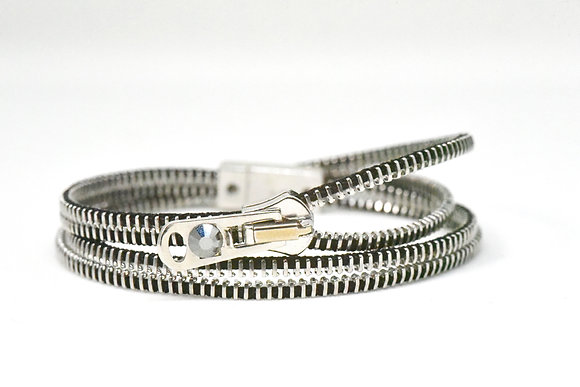 Double/Four Steel and Black Zipper Bracelet and Necklace in One