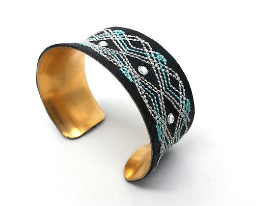 Bounty Cuff (Black, turquoise, silver)