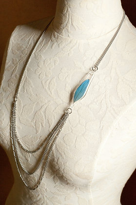 Unchain my Heart Necklace with Blue Parrot Feather