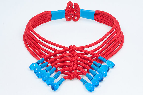 Red and blue shoelace necklace