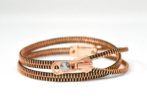 Copper and black zipper bracelet (double/four)