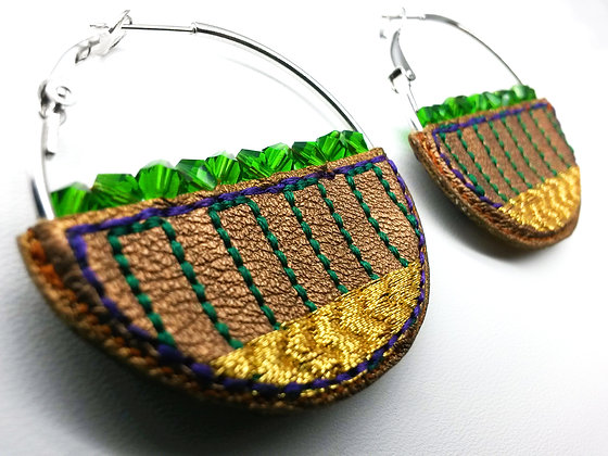 Basket Hoop Earrings (cocoa, gold, green, purple)