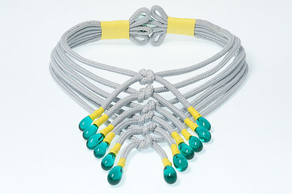 Grey and turquoise shoelace necklace