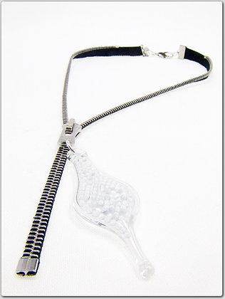 Blk/silver zipper necklace w glass beads (Z18)