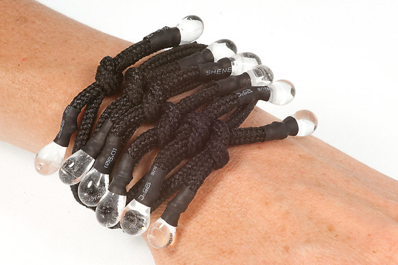 Black and clear shoelace bracelet