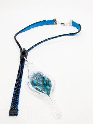 Sm. blue zip necklace w feather charm (Z12)