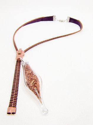 Aubergine/copper zipper necklace w wire (Z25)