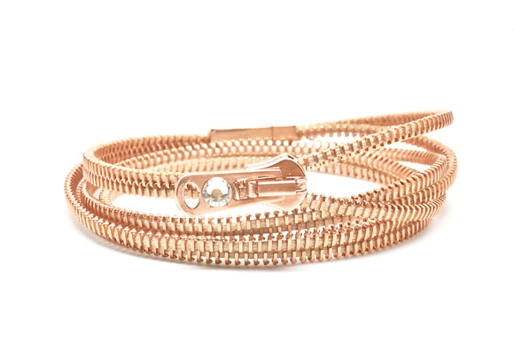 Triple/Six Copper and Salmon Zipper Bracelet and Necklace in One